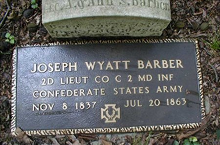 BARBER (CSA-CW), JOSEPH WYATT - Anne Arundel County, Maryland | JOSEPH WYATT BARBER (CSA-CW) - Maryland Gravestone Photos
