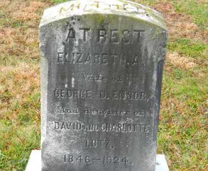 ENSOR, ELIZABETH A. - Baltimore County, Maryland   ELIZABETH A. ENSOR - Maryland Gravestone Photos