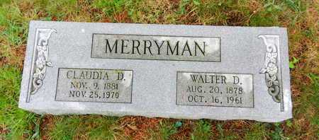 MERRYMAN, WALTER D. - Baltimore County, Maryland | WALTER D. MERRYMAN - Maryland Gravestone Photos