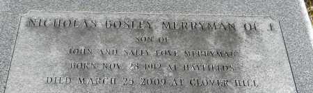 MERRYMAN, NICHOLAS BOSLEY - Baltimore County, Maryland | NICHOLAS BOSLEY MERRYMAN - Maryland Gravestone Photos