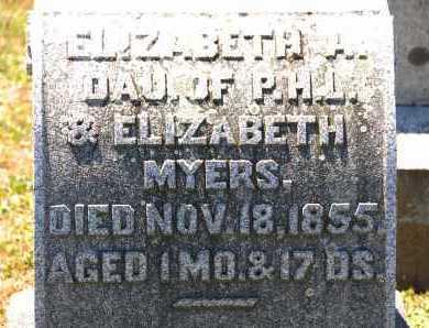 MYERS, ELIZABETH A. - Carroll County, Maryland | ELIZABETH A. MYERS - Maryland Gravestone Photos