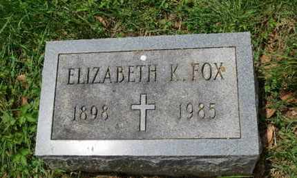 FOX, ELIZABETH K. - Cecil County, Maryland | ELIZABETH K. FOX - Maryland Gravestone Photos