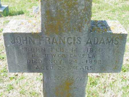 ADAMS, JOHN FRANCIS - Talbot County, Maryland   JOHN FRANCIS ADAMS - Maryland Gravestone Photos