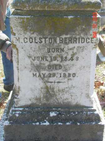 BERRIDCE, M. COLSTON - Talbot County, Maryland   M. COLSTON BERRIDCE - Maryland Gravestone Photos
