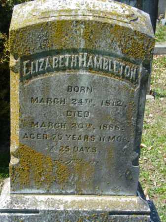 HAMBLETON, ELIZABETH - Talbot County, Maryland | ELIZABETH HAMBLETON - Maryland Gravestone Photos
