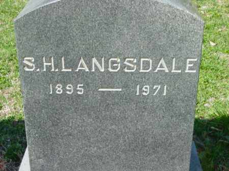 LANGSDALE, S. H. - Talbot County, Maryland | S. H. LANGSDALE - Maryland Gravestone Photos
