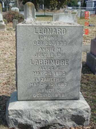 LEONARD, EDMUND T. - Talbot County, Maryland | EDMUND T. LEONARD - Maryland Gravestone Photos