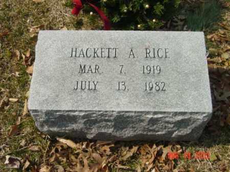 RICE, HACKETT A. - Talbot County, Maryland | HACKETT A. RICE - Maryland Gravestone Photos