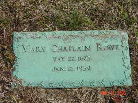 ROWE, MARY CHAPLAIN - Talbot County, Maryland | MARY CHAPLAIN ROWE - Maryland Gravestone Photos