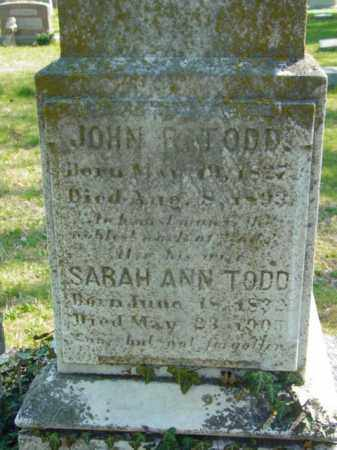 TODD, SARAH ANN - Talbot County, Maryland | SARAH ANN TODD - Maryland Gravestone Photos